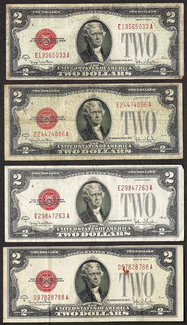 Lot of (4) 1928G $2 Legal Tender Notes