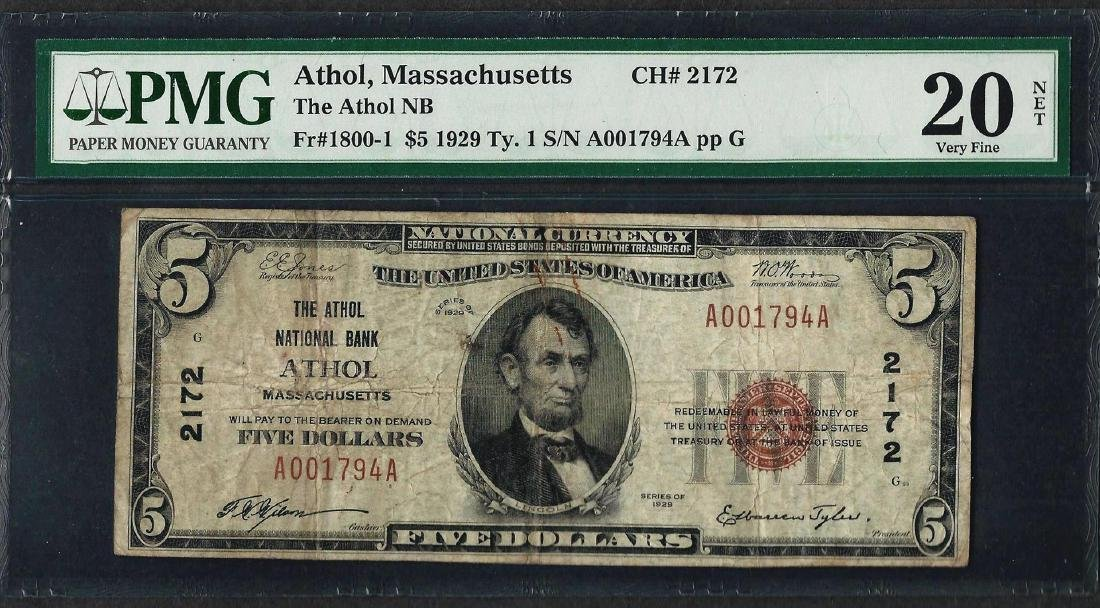 1929 $5 National Currency Note Athol, MA CH# 2172 PMG