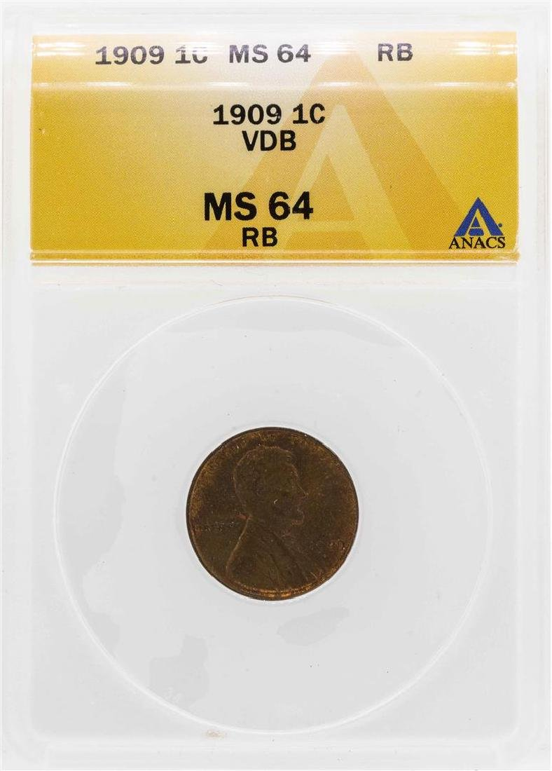 1909 VDB Lincoln Wheat Penny Coin ANACS MS64RB