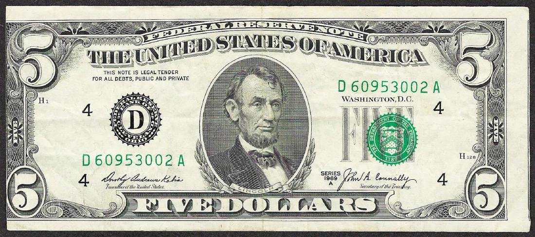 1969A $5 Federal Reserve Note ERROR Misalignment