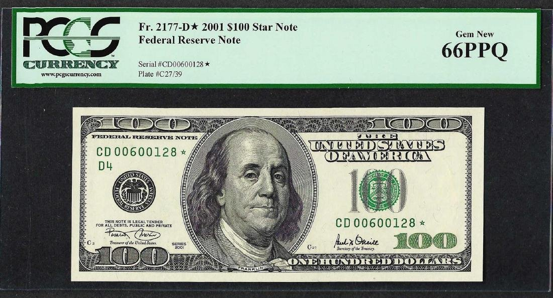 2001 $100 Federal Reserve STAR Note PCGS Gem New 66PPQ