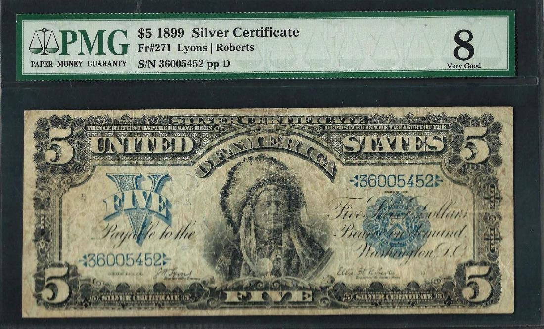 1899 $5 Indian Chief Silver Certificate Note Fr.271 PMG