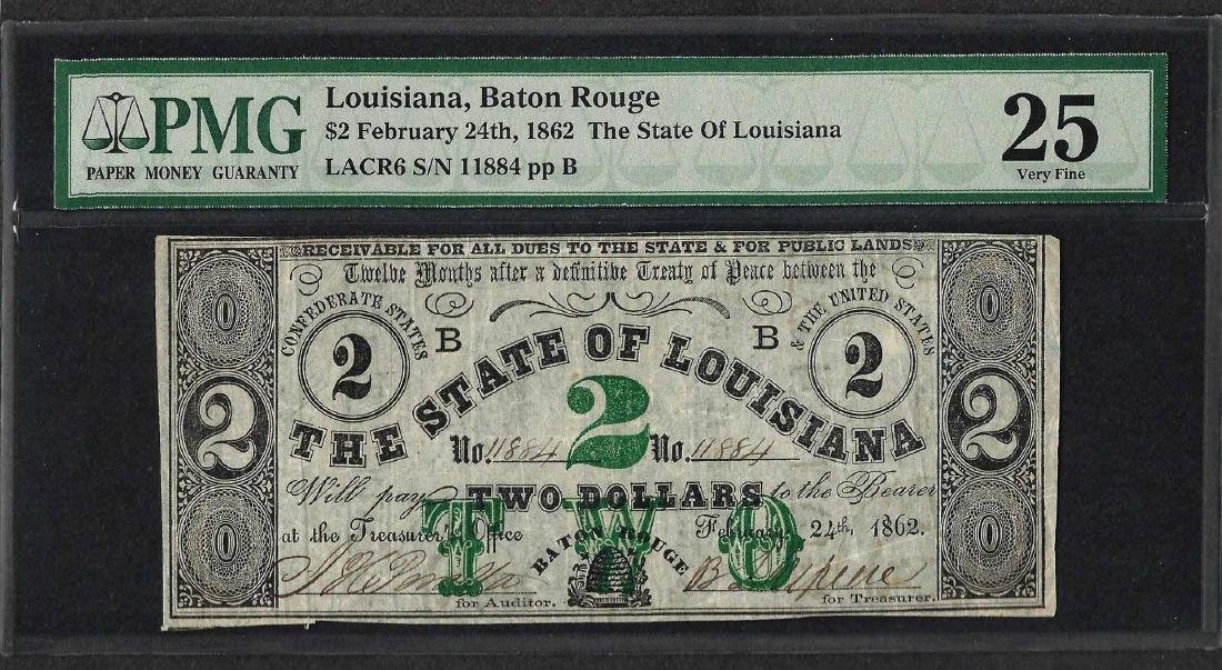1862 $2 The State of Louisiana Obsolete Note PMG Very
