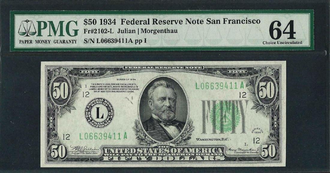 1934 $50 Federal Reserve Note San Francisco Fr.2102-L