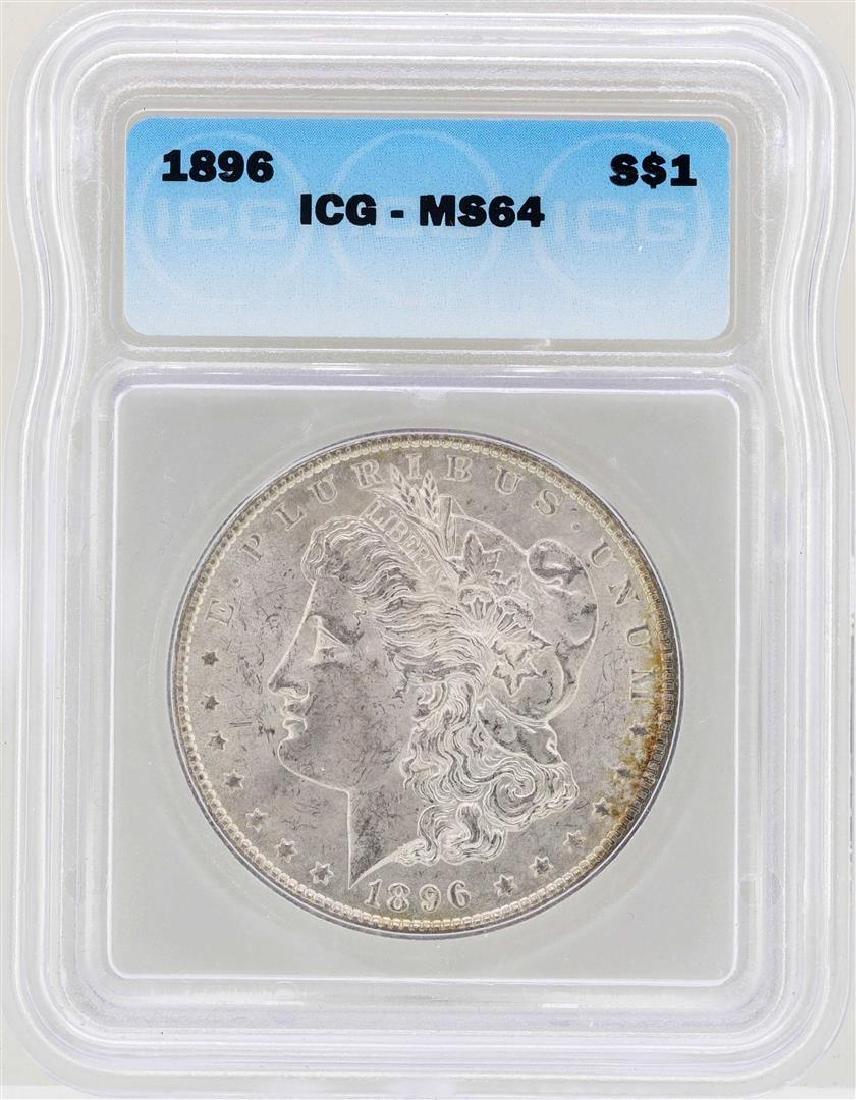 1896 $1 Morgan Silver Dollar Coin ICG MS64