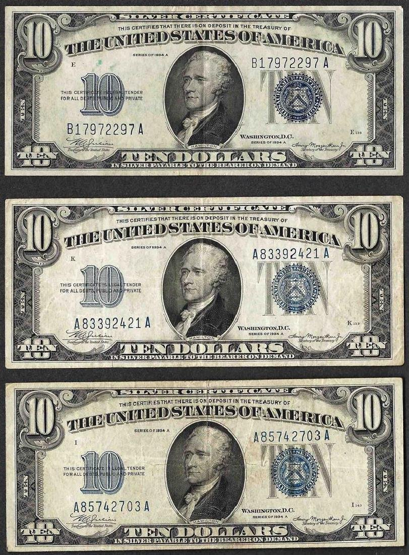 Lot of (3) 1934A $10 Silver Certificate Notes