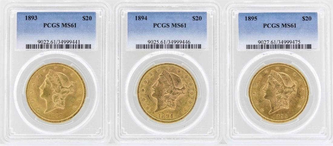 Lot of 1893-1895 $20 Liberty Head Double Eagle Gold