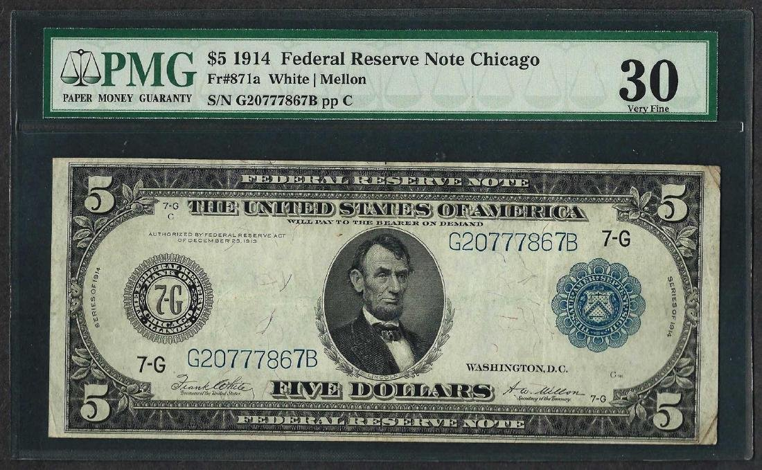 1914 $5 Federal Reserve Note Chicago Fr.871a PMG Very