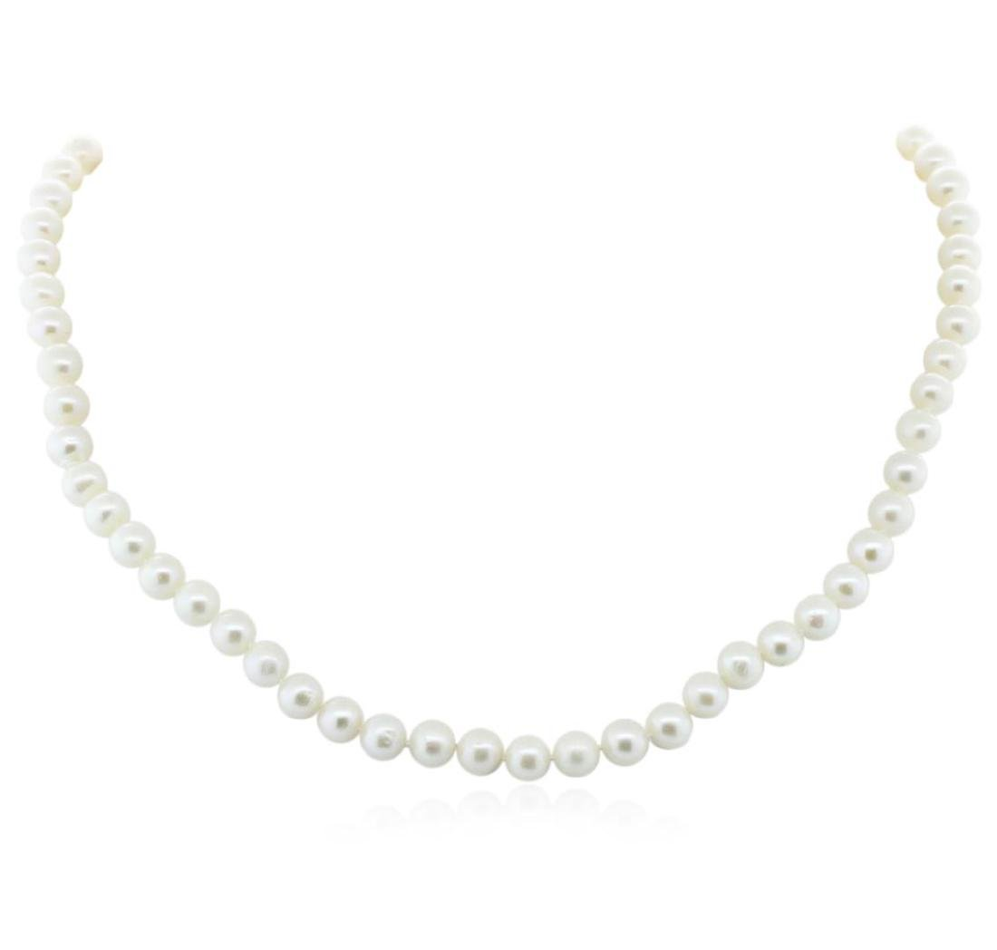6.5-7MM Cultured Pearl Necklace With Silver Clasp