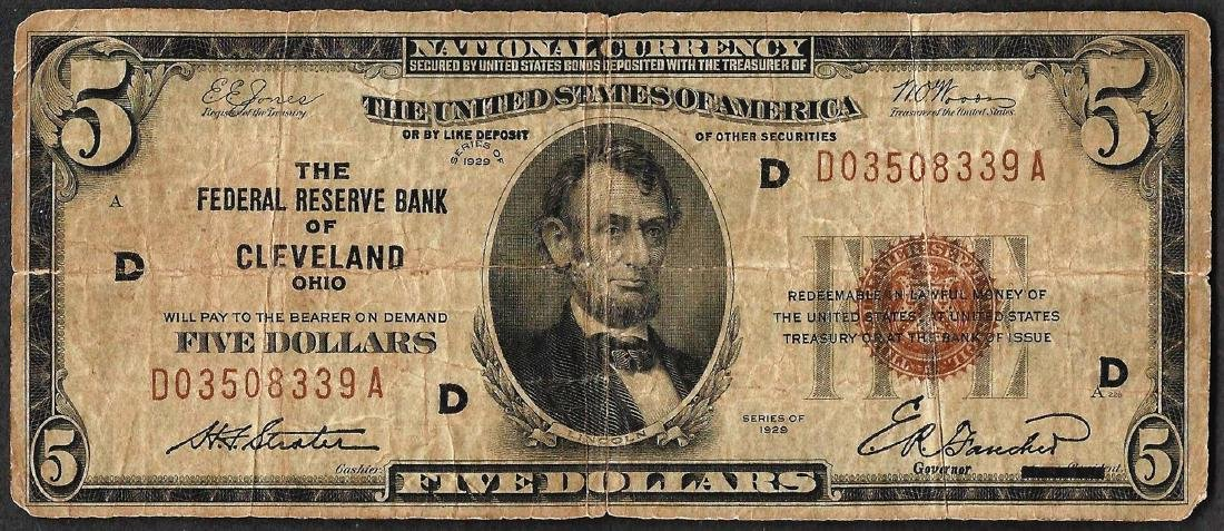 1929 $5 Federal Reserve Bank Note Cleveland, OH
