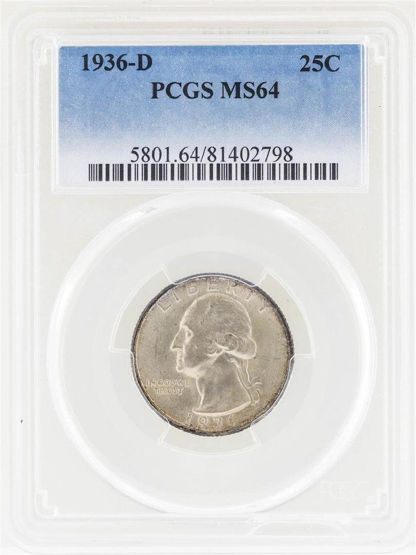 1936-D Washington Silver Quarter Coin PCGS MS64