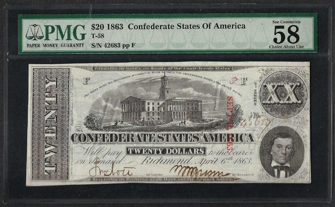 1863 $20 Confederate States of America Note PMG Choice