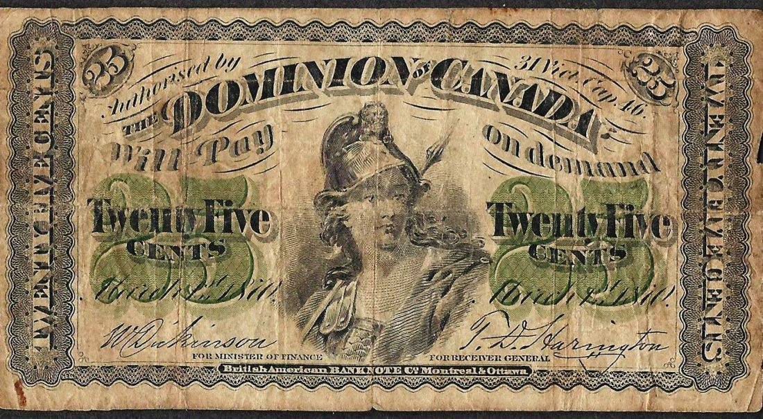 1870 Twenty Five Cents Dominion of Canada Note