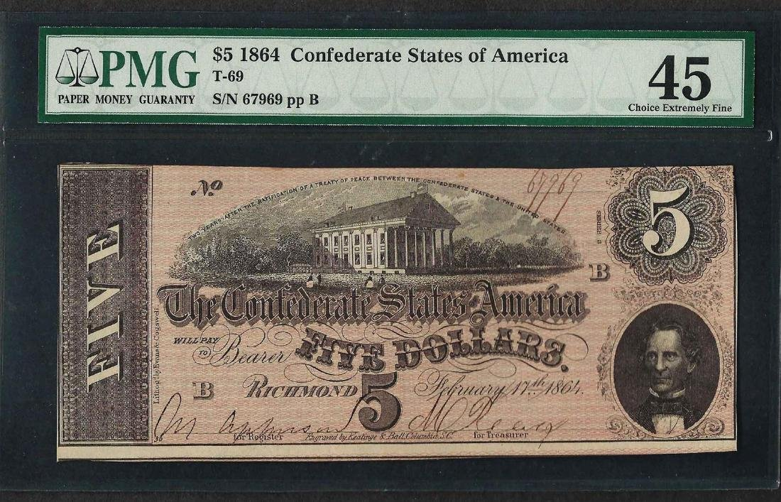 1864 $5 Confederate States of America Note T-69 PMG