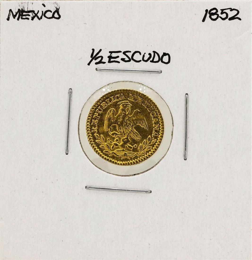 1852 Mexico 1/2 Escudo Gold Coin