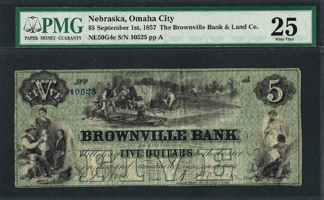 1857 $5 The Brownville Bank & Land Co. Obsolete Note