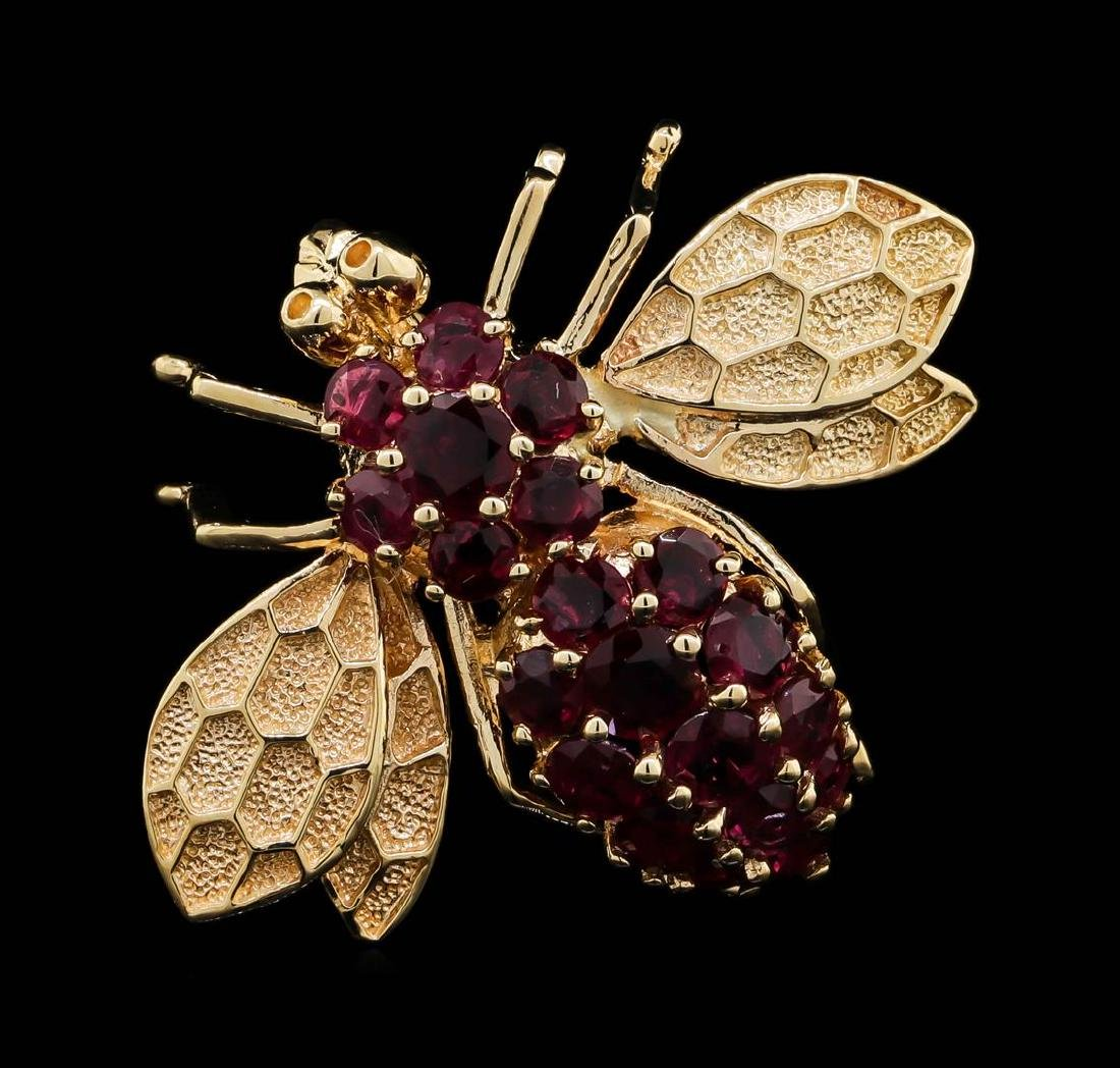 14KT Rose Gold 3.00 ctw Ruby Fly Brooch