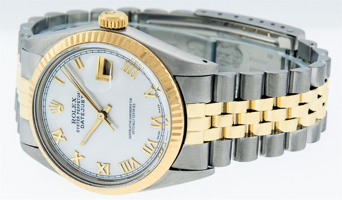 Rolex Men's Two Tone 14K Mother Of Pearl Roman Datejust - 2