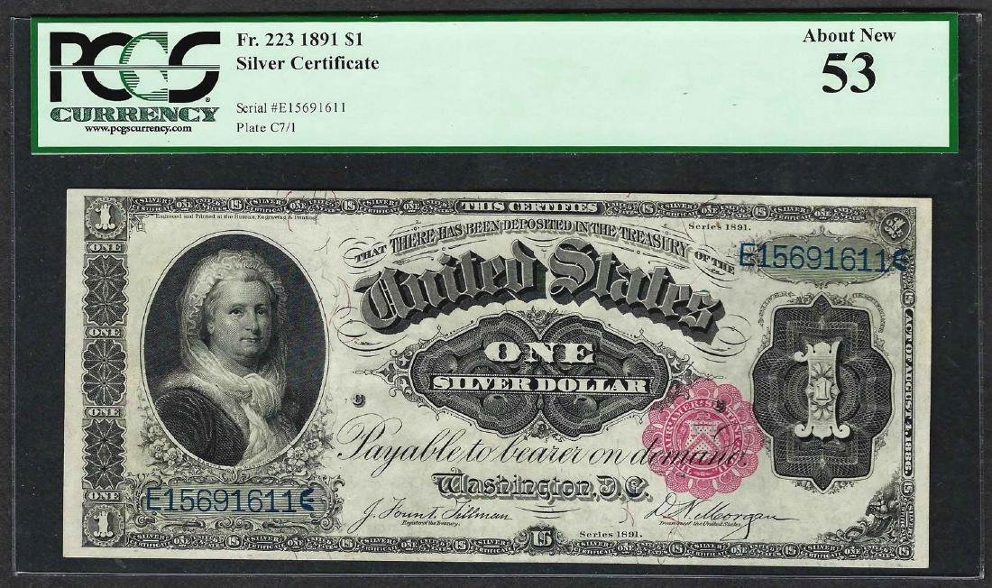 1891 $1 Martha Washington Silver Certificate Note