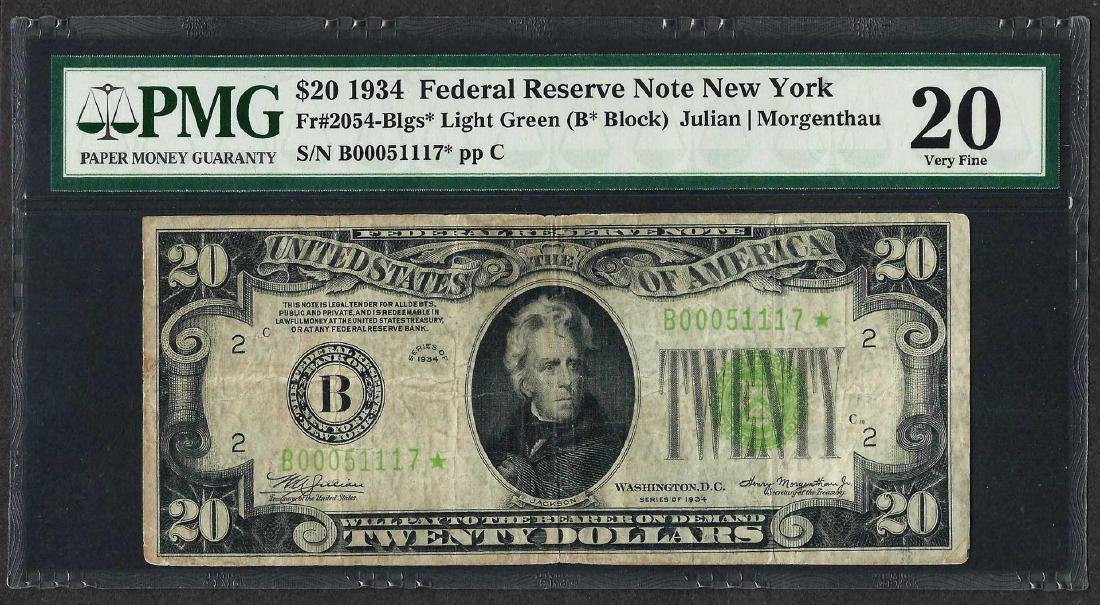 1934 $20 Federal Reserve STAR Note New York Light Green