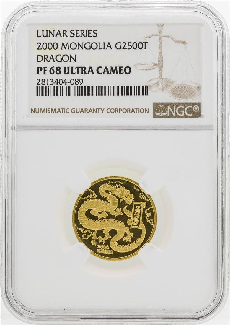 2000 Mongolia 2500 Tugrik 1/4 oz. Gold Dragon Proof