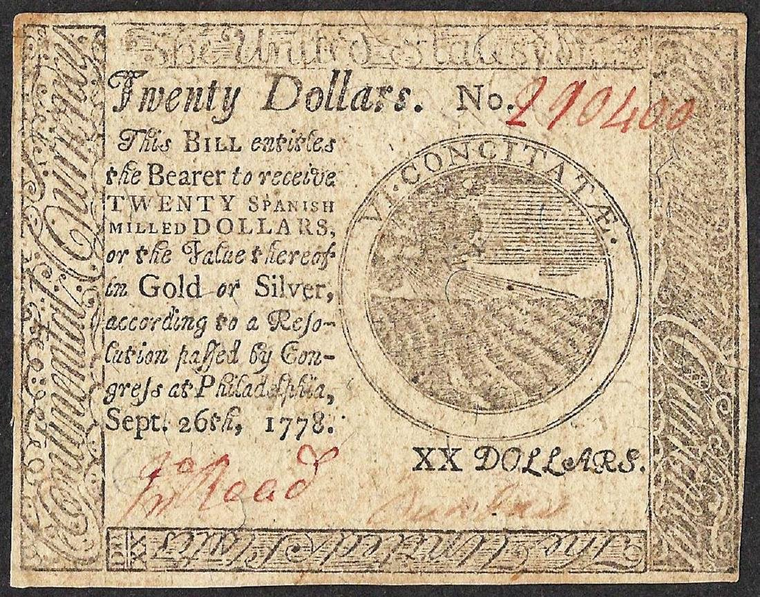 September 26, 1778 $20 Continental Currency Note