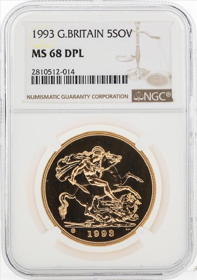 1993 Great Britain 5 Sovereign Gold Coin NGC MS68DPL