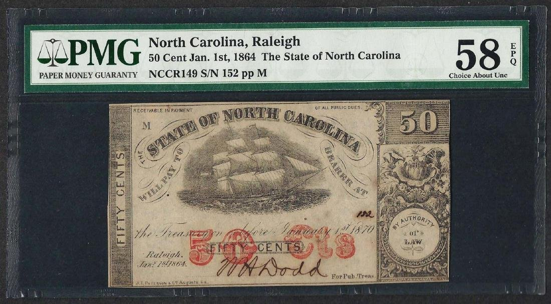 1864 50 Cent State of North Carolina Obsolete Note PMG