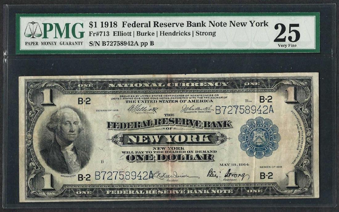 1918 $1 Federal Reserve Bank Note New York Fr.713 PMG