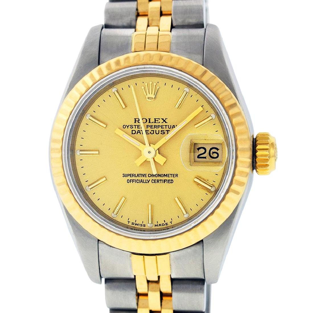 Rolex Ladies Two Tone 14K Champagne Index Datejust