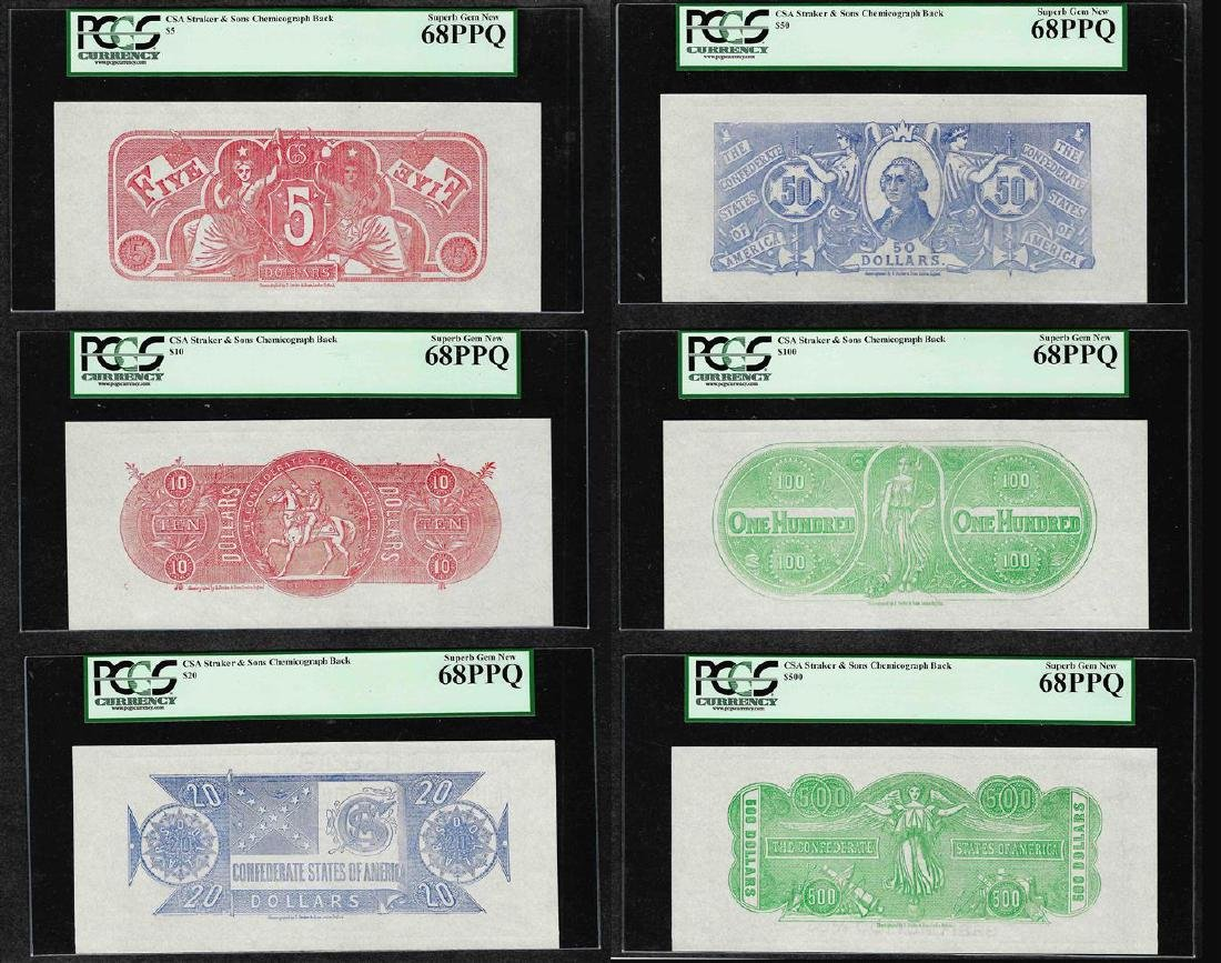 Set of (6) Chemicograph Back Confederate Currency Note