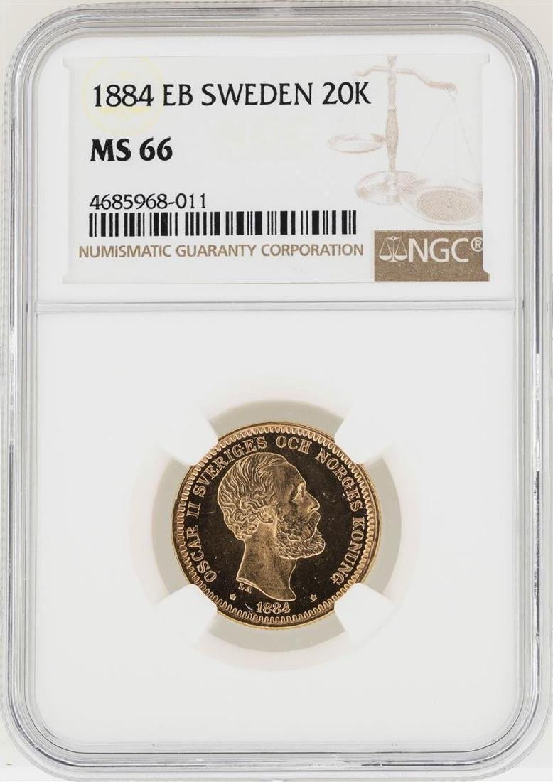 1884EB Sweden 20 Kronors Gold Coin NGC MS66