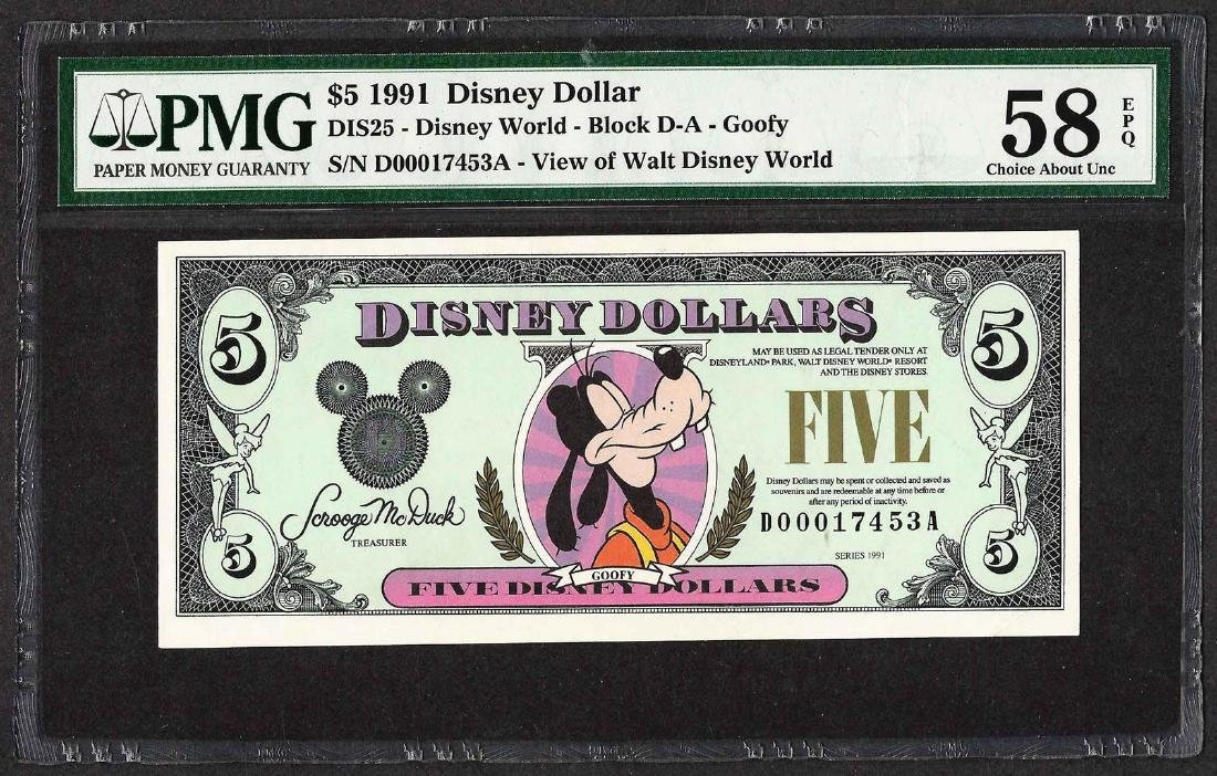 1991 $5 Disney Dollars Note PMG Choice About