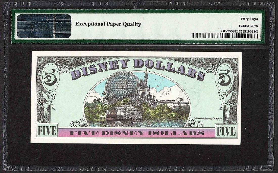 1991 $5 Disney Dollars Note PMG Choice About - 2