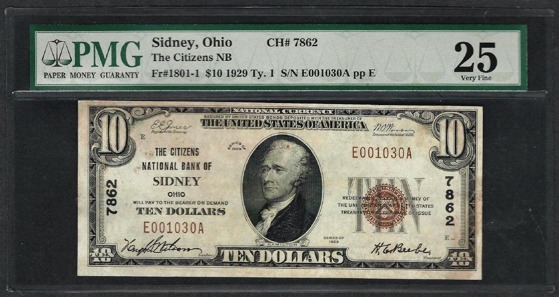 1929 $10 National Currency Note Sidney, Ohio CH# 7862