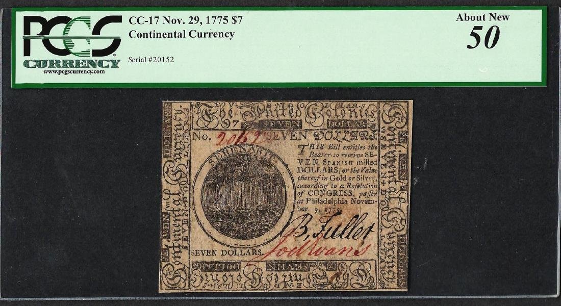 November 9, 1775 $7 Continental Currency Note CC-17