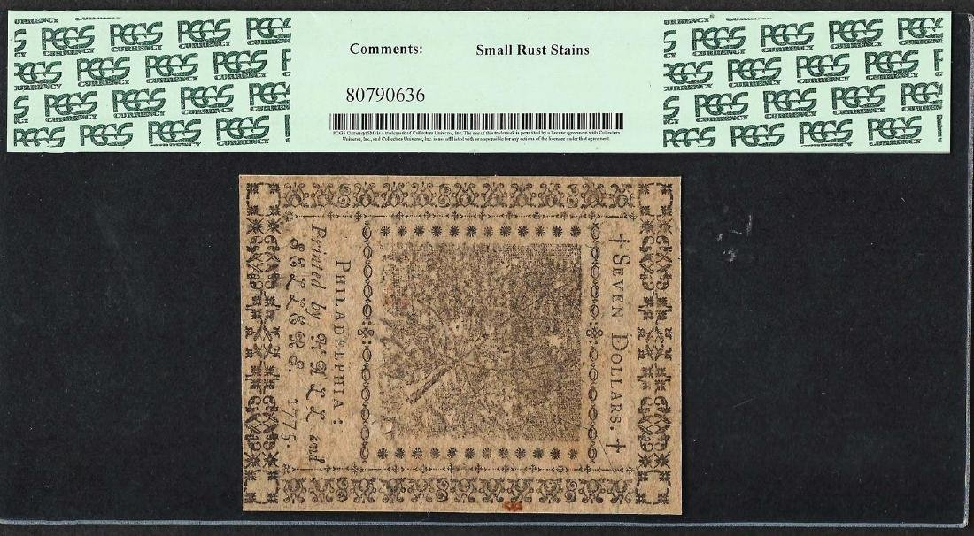 November 9, 1775 $7 Continental Currency Note CC-17 - 2