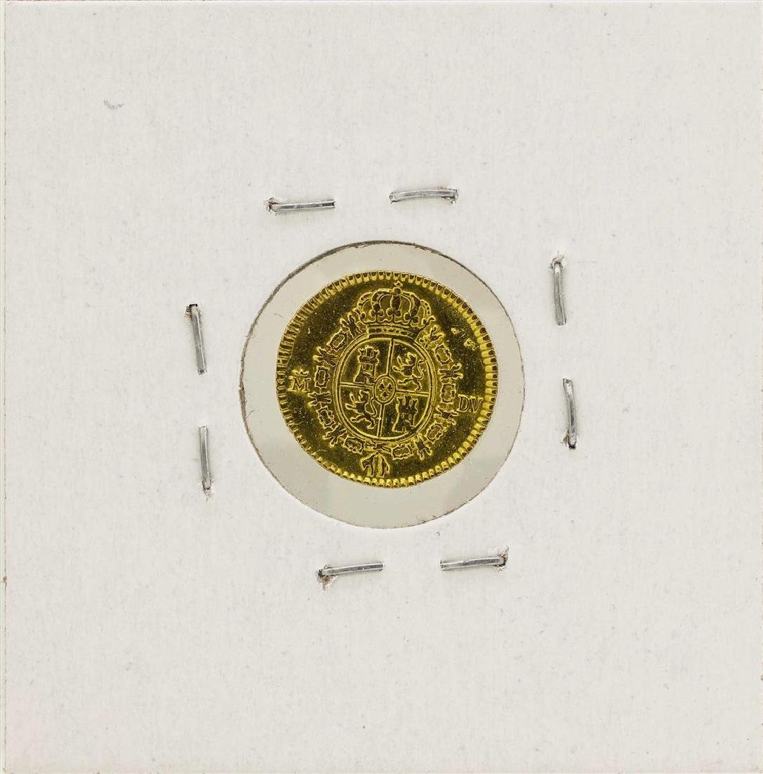 1786 Charles III Spanish 1/2 Escudos Gold Coin - 2
