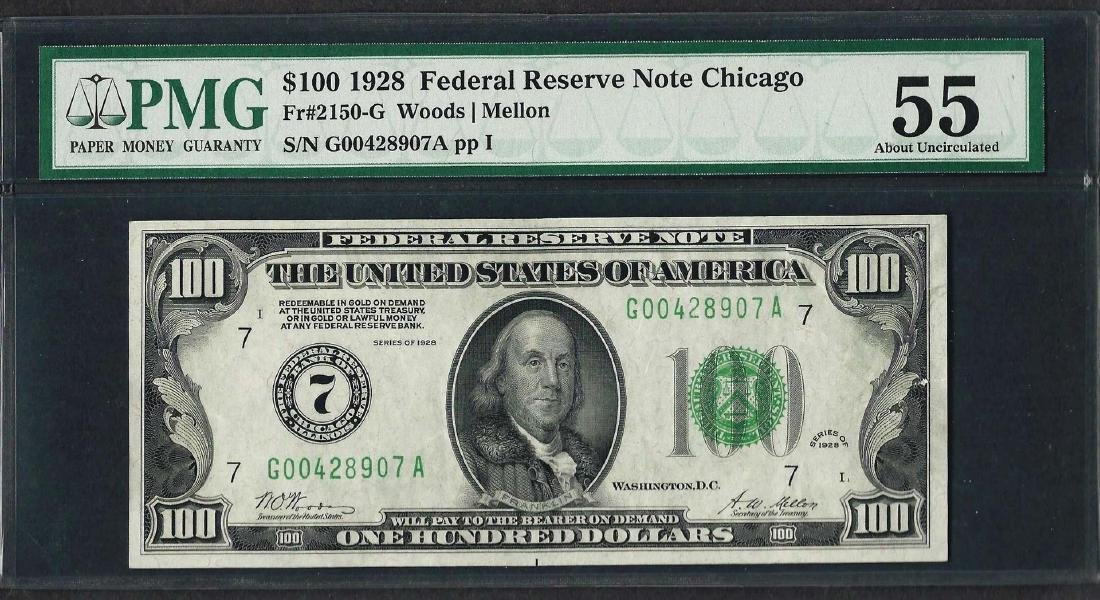 1928 $100 Federal Reserve Note Chicago Fr.2150-G PMG