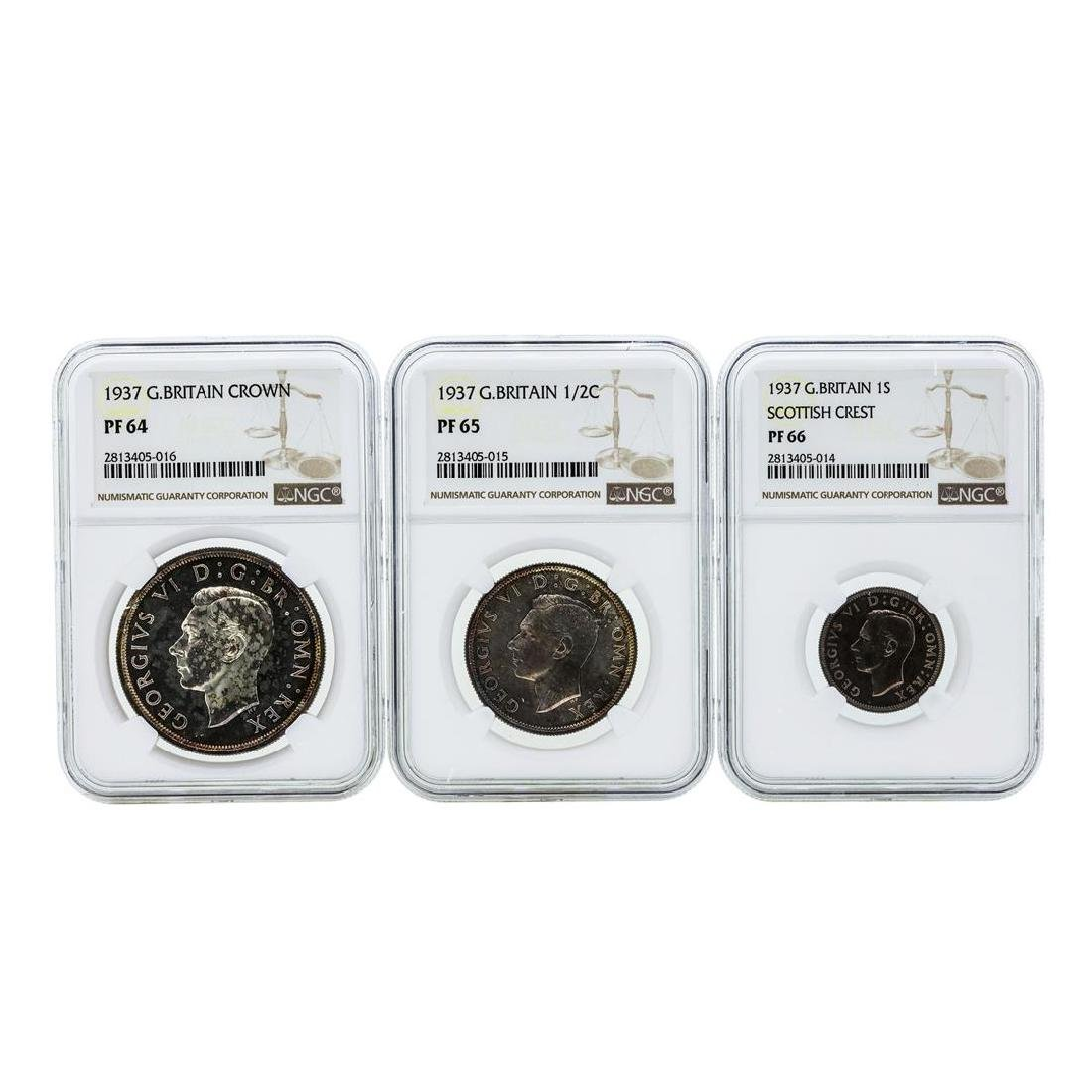 1937 Great Britain (3) Coin Proof Set NGC