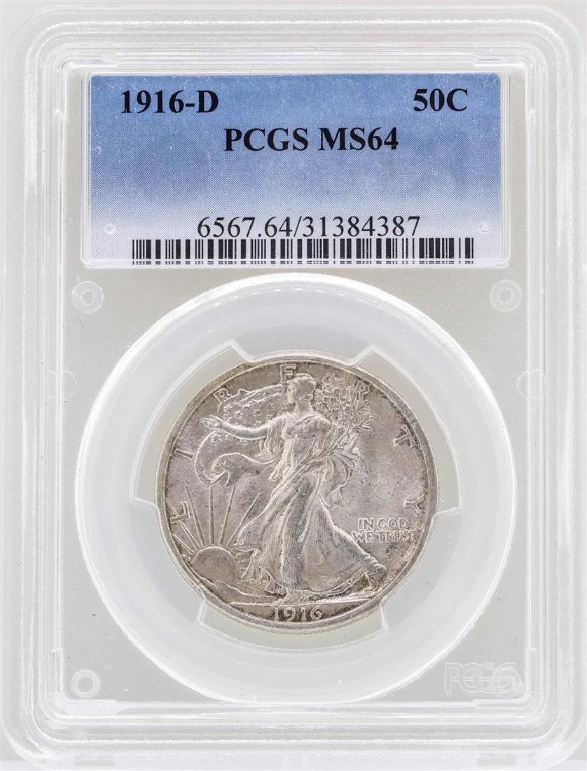1916-D Walking Liberty Half Dollar Coin PCGS MS64