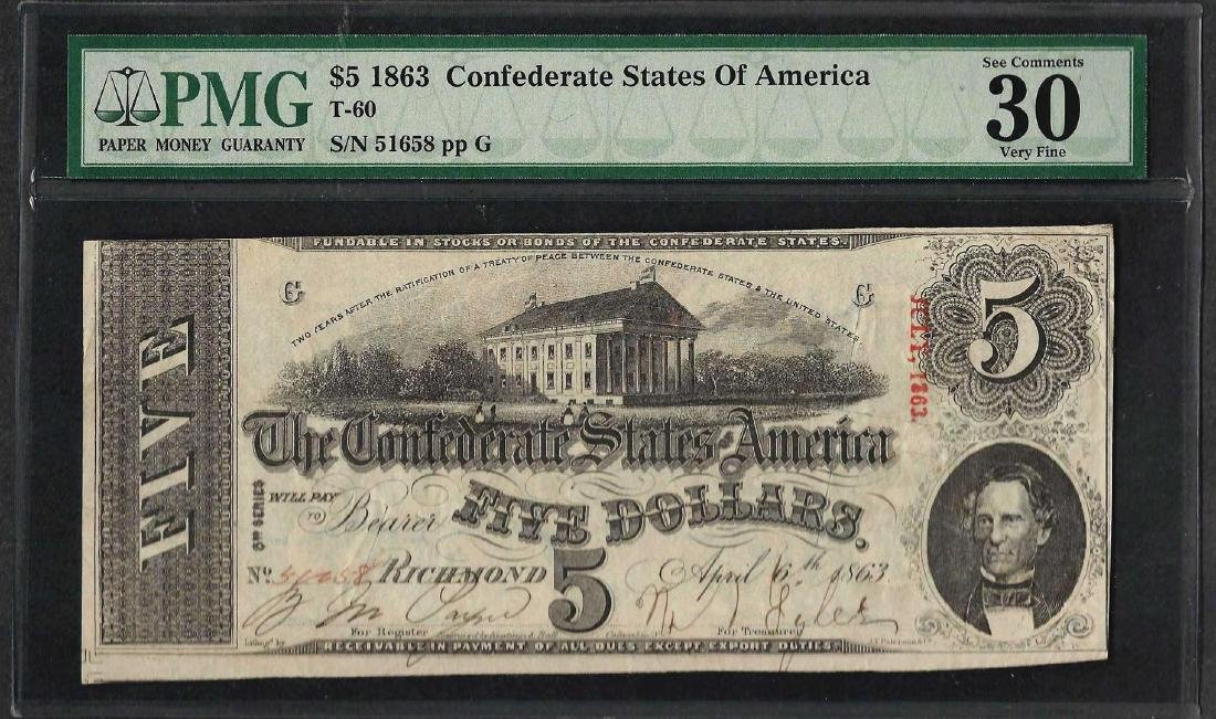 1863 $5 Confederate State of America Note T-60 PMG Very