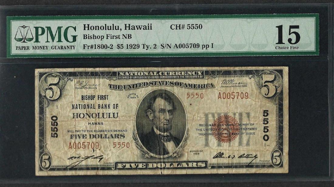 1929 $5 National Currency Note Honolulu, HI CH# 5550