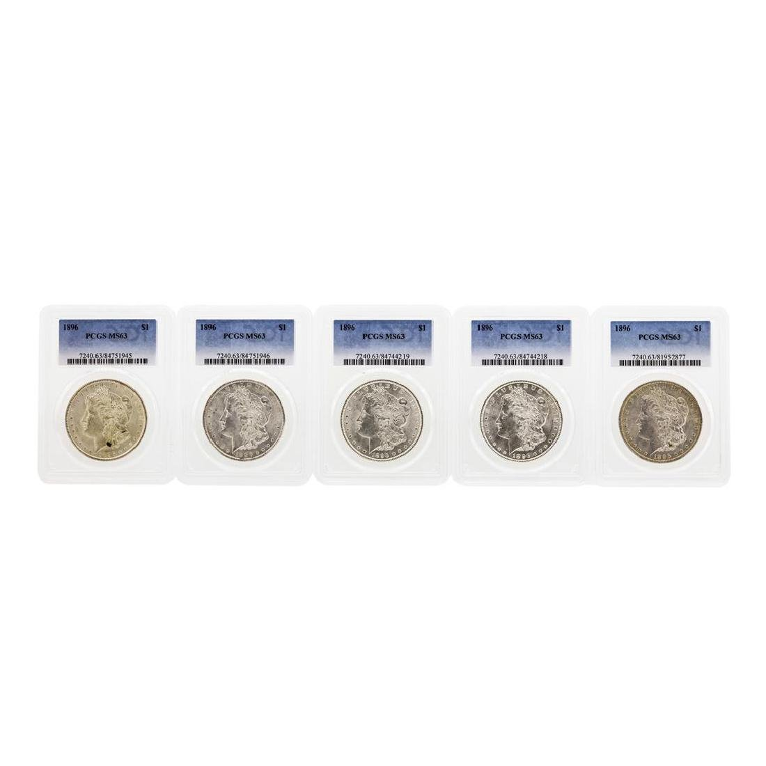 Lot of (5) 1896 $1 Morgan Silver Dollar Coins PCGS MS63