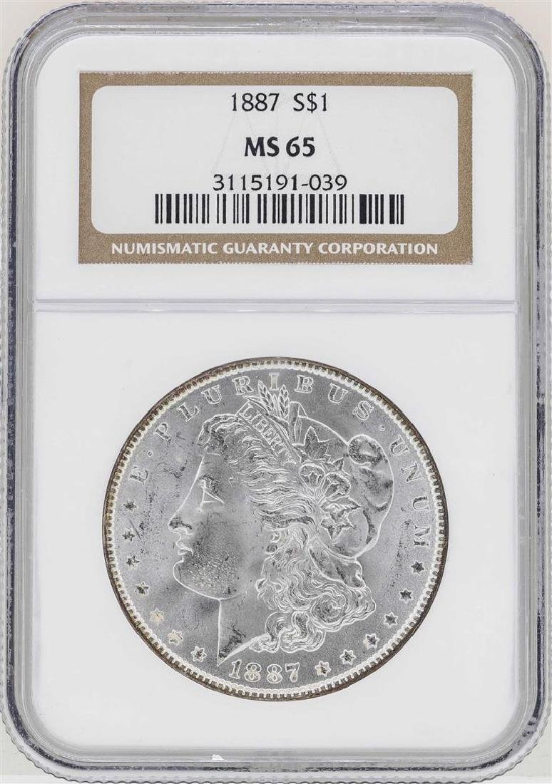 1887 $1 Morgan Silver Dollar Coin NGC MS65