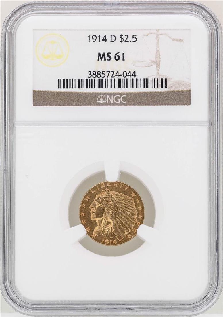 1914-D $2 1/2 Indian Head Quarter Eagle Gold Coin NGC