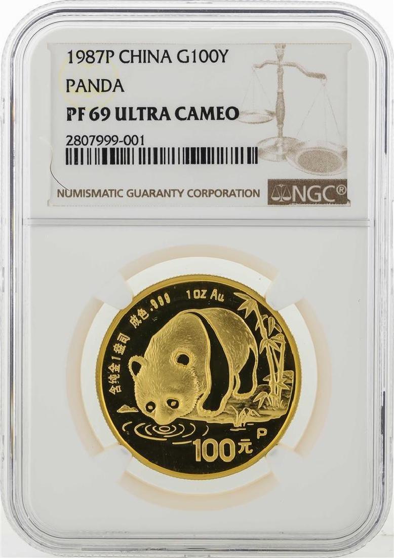 1987P China 100 Yuan Panda Gold Coin NGC PF69 Ultra