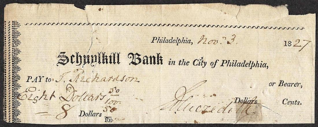 1827 Schuylkill Bank Obsolete Note- Holes & Tears
