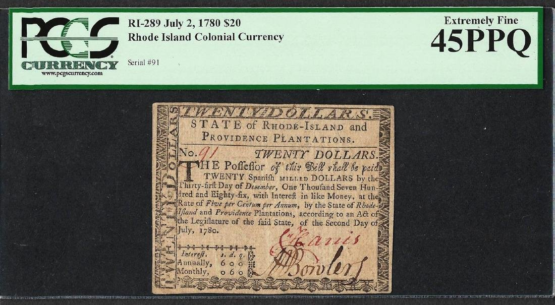 July 2, 1780 $20 Rhode Island Colonial Currency Note