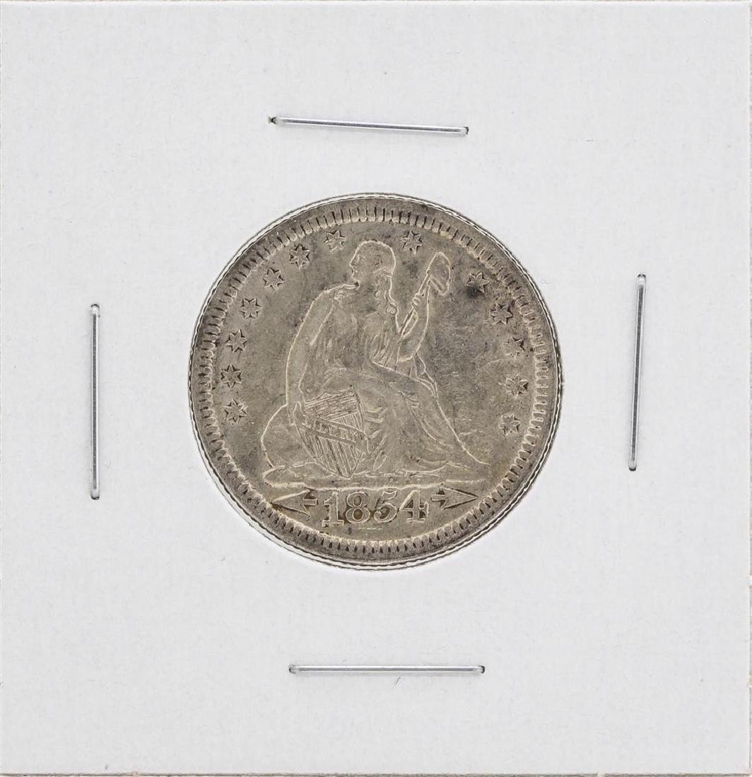 1854 Arrows Seated Liberty Quarter Coin